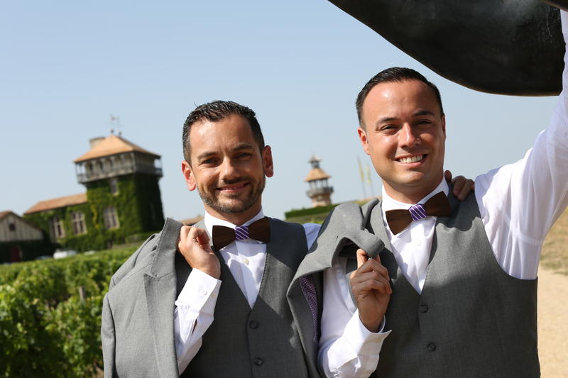 Cedric Mahe (left) and Belen Jesuit grad Richard Rodriguez on their wedding day earlier this year.