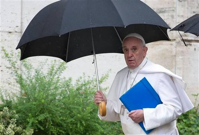 Pope Francis arrives at a session of the family synod at the Vatican in Rome this month.