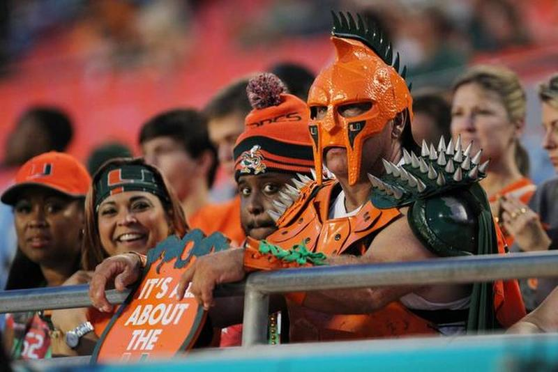 Fans of the University of Miami await the start of the game as the University of Miami Hurricanes prepare to play the Duke University Blue Devils.