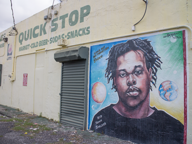 A memorial mural by Serge Toussaint on Northwest 79th Street in Miami.
