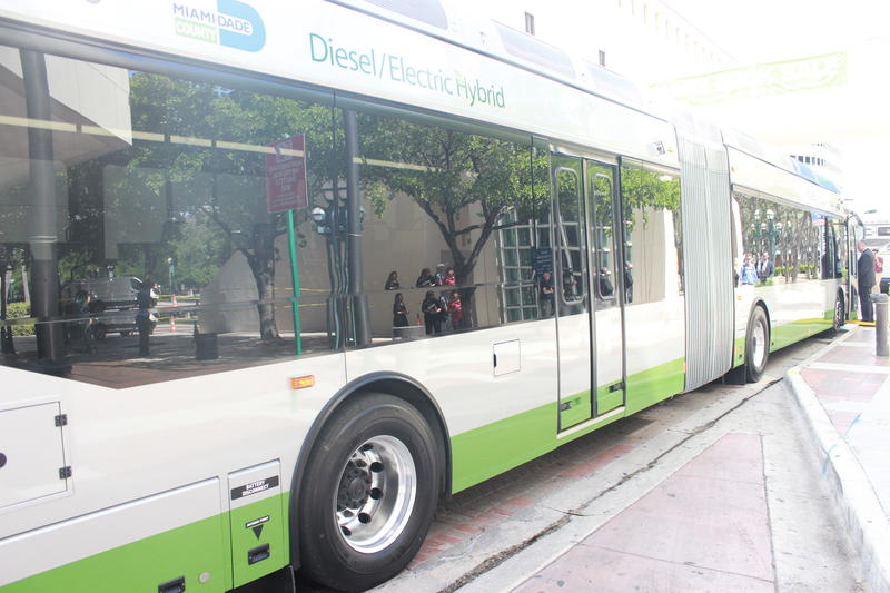 One of Miami-Dade Transit's new 60-foot diesel-electric buses.