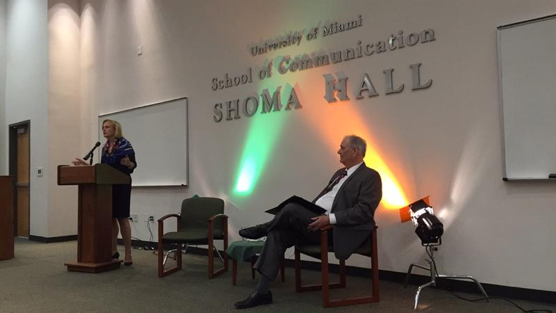 """PBS President and CEO Paula Kerger addresses the UM school of communication in its annual """"Conversation"""" series."""