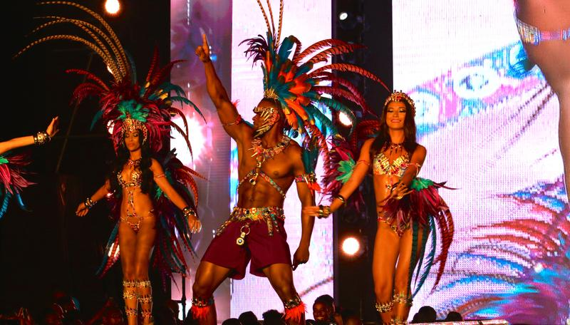 Y.U.M.A. Mas Band unveils their elaborate costumes for Trinidad's carnival in 2016 to a sold-out crowd outside of the national stadium. Large, contemporary bands like Y.U.M.A.'s typically sell out months before carnival day.