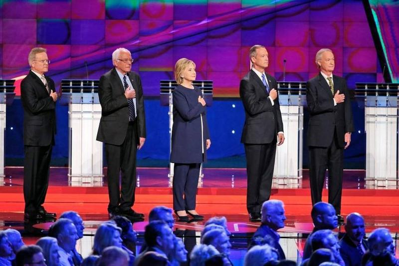 From left, Democratic presidential candidates former Virginia Sen. Jim Webb, Sen. Bernie Sanders of Vermont, Hillary Clinton, former Maryland Gov. Martin O'Malley and former Rhode Island Gov. Lincoln Chafee at the Oct. 13 Democratic debate.