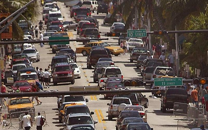 Traffic in Miami Beach.