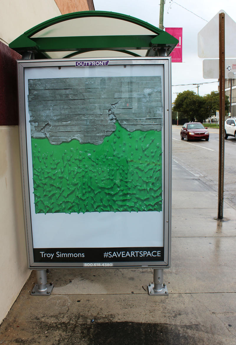 Troy Simmons' work on bus shelter at Northwest 29th Street and Second Avenue.