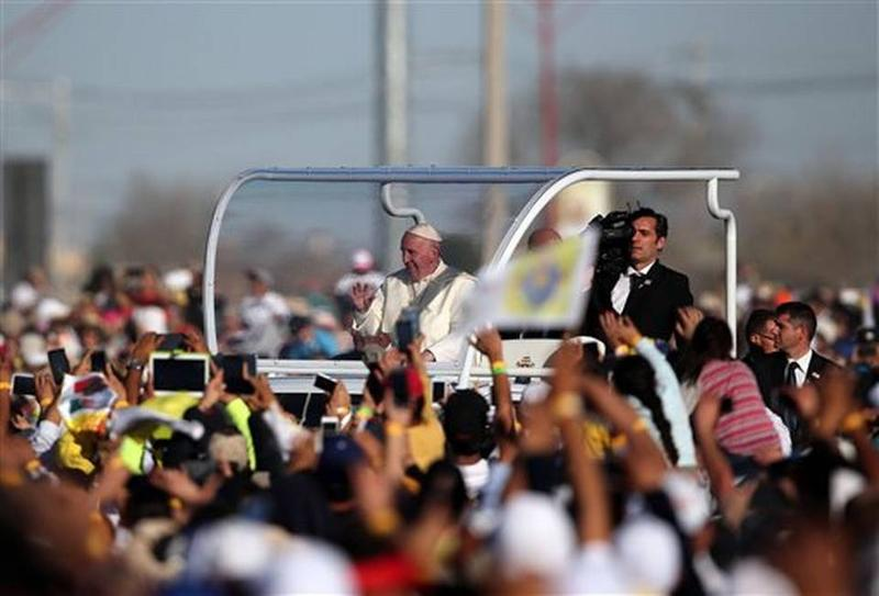 Pope Francis arrives at an open-air Mass in the border city of Juarez, Mexico, on Wednesday.