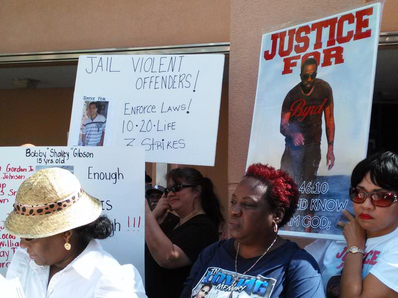 Miami-Dade Parents of Murdered Kids protest outside of the Miami-Dade State Attorney's Office.