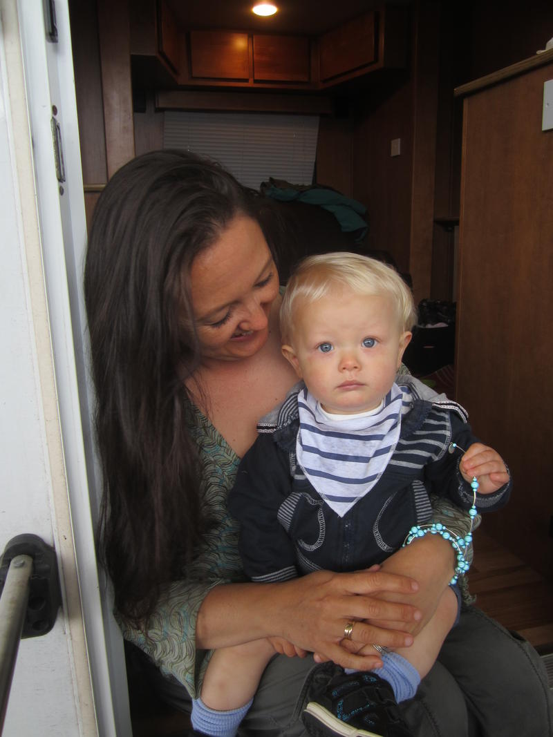 Archer - one of the children who plays baby James Henry - with his mother, Nicola
