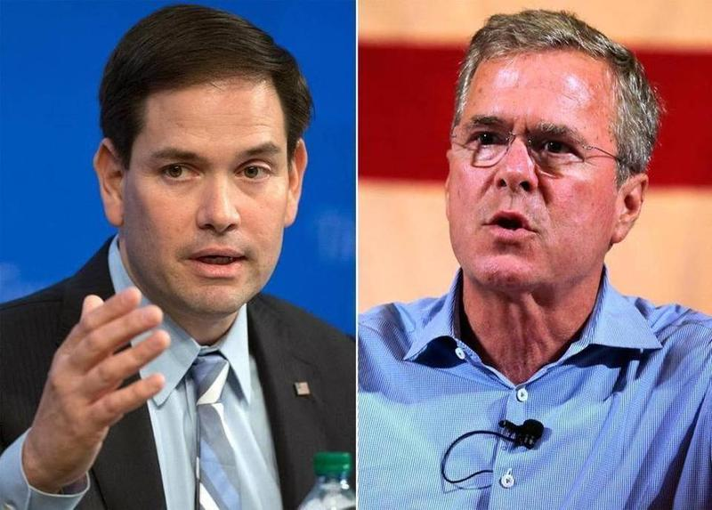 Marco Rubio and Jeb Bush are stuck in the middle of the Republican primary pack — and fighting for money from the same political donor base.