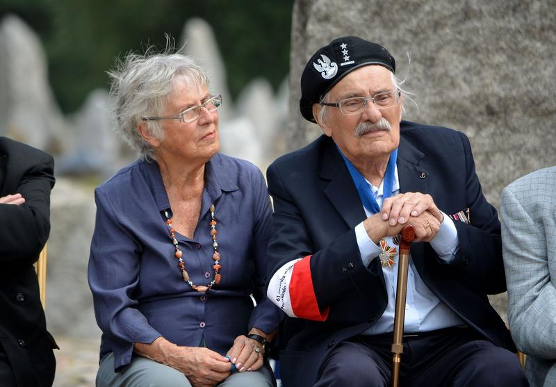 Samuel and wife Ada Willenberg sitting together at a memorial ceremony, 2012.