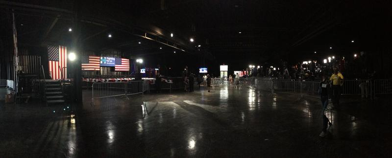 Venue before doors opened at Hillary Clinton rally in Miami, Tuesday.