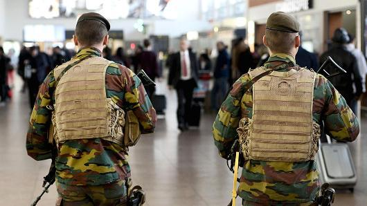 Security guards at Brussels Airport, site of a terrorist attack that left more than 30 dead and 270 injured.
