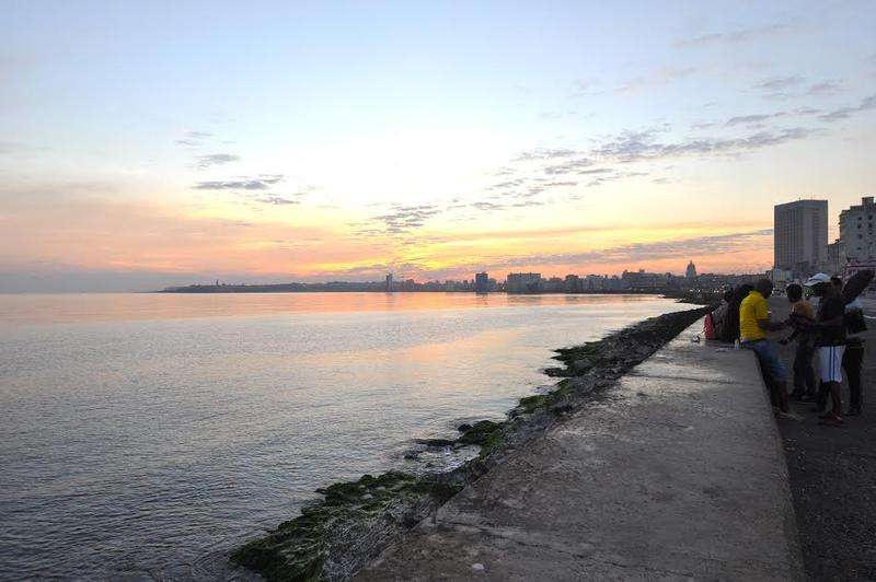 Sunrise at the Malecon in Cuba ahead of President Obama's historic visit.