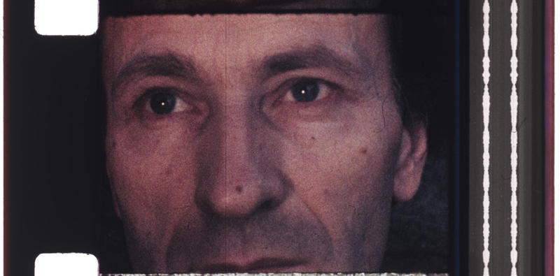 "Jonas Mekas in a film still from ""Walden."""