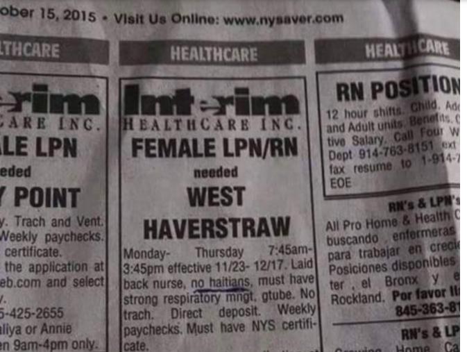 "Interim Healthcare Ad in New York specifies ""no Haitians."""