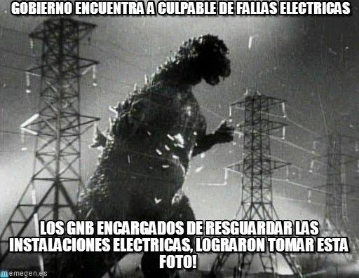 A satirical meme posted by Venezuelans, suggesting their government could blame the country's electricity shortages on Godzilla