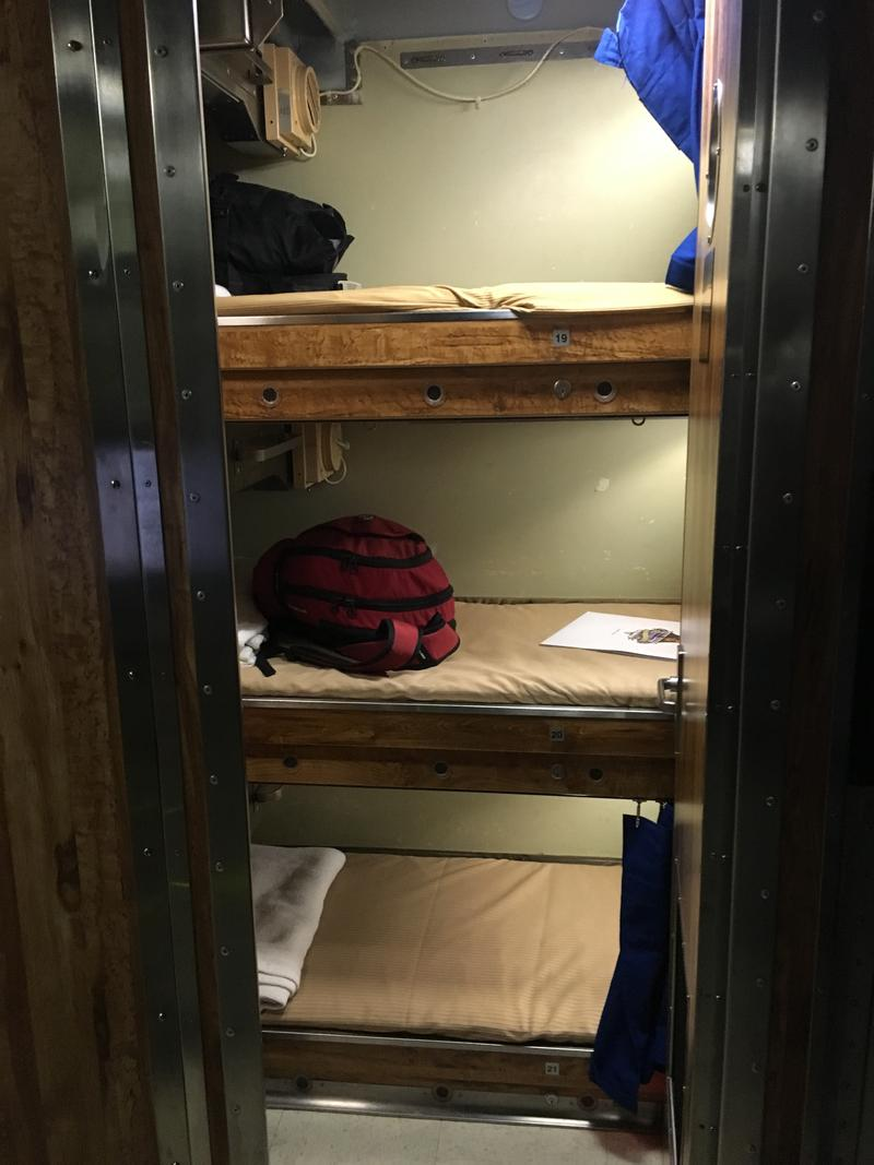 Bunkbeds, or racks, where the crew sleep.