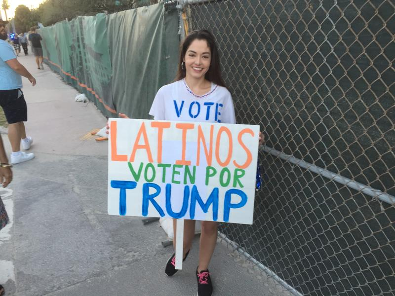 A Latina Donald Trump supporter outside the GOP presidential debate at the University of Miami in March.