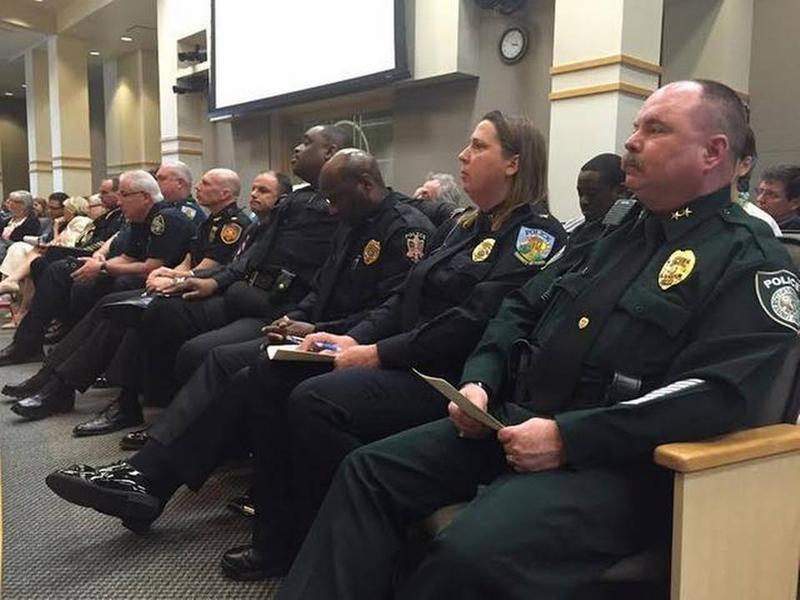 Representatives from campus police departments across the state traveled to Tallahassee Monday to oppose the campus guns bill.