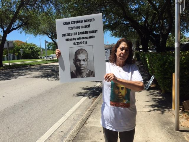 Jema Pena, mother of Khristopher Rodriguez, joined the protest demanding justice for Darren Rainey because her son used to be in the same institution.