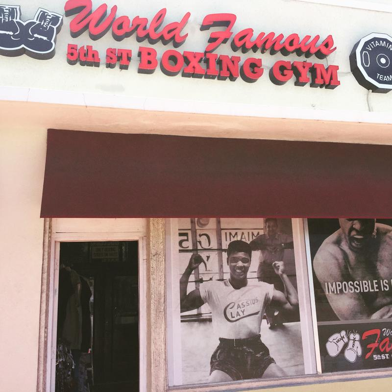 Outside of the World Famous 5th St. Gym in Miami Beach.