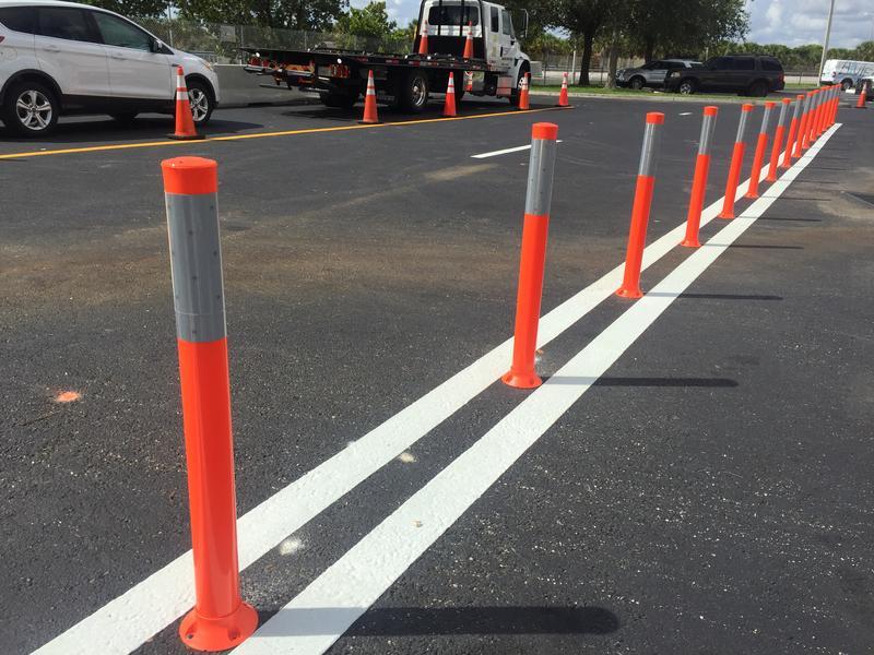 Orange traffic posts