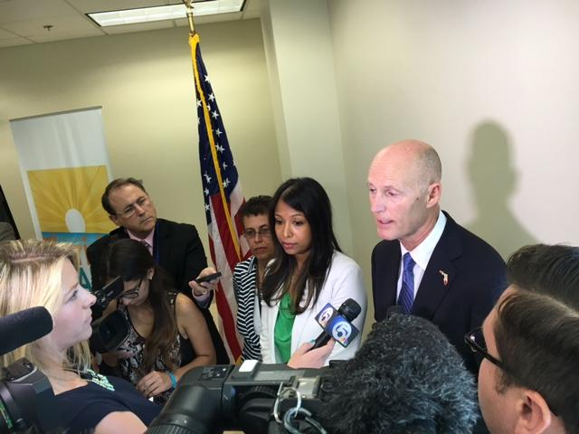 Governor Rick Scott (right) and Dr. Celeste Philip (left), Florida Surgeon General, presided over a Zika prevention meeting in Palm Beach this Tuesday June 28.