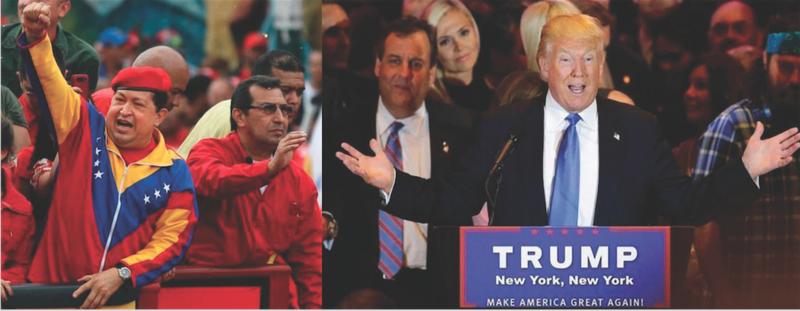 DIFFERENT DEMAGOGUES? The late Venezuelan President Hugo Chavez (left) and presumptive Republican presidential nominee Donald Trump.