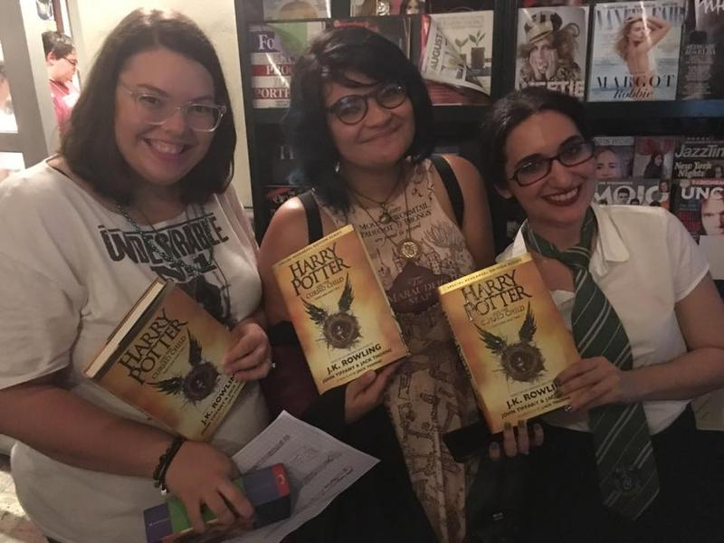 Elsie Alarcon, Juliana Failde and Nabila Nassar with their brand new Harry Potter and the Cursed Child books.