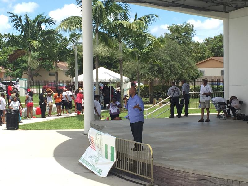 Miami Gardens Mayor Oliver Gilbert addresses the Fourth of July crowd Monday afternoon.
