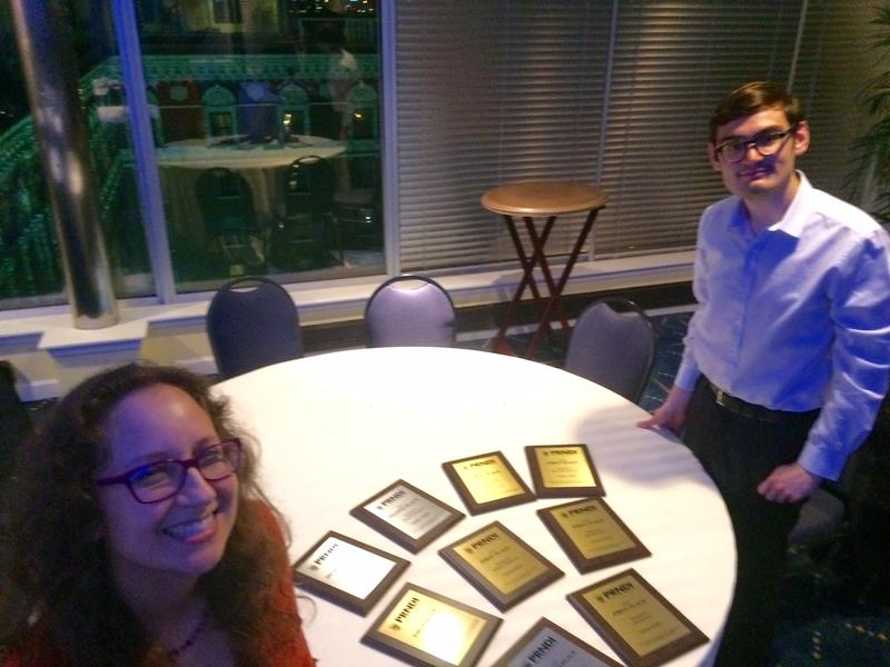 "WLRN Editorial Director Alicia Zuckerman, with former WLRN intern Alex Gonzalez after the PRNDI awards ceremony in St. Louis. Gonzalez won second place in the student spot news category for his piece, ""A French Musician Finds Niche With South Florida Audi"