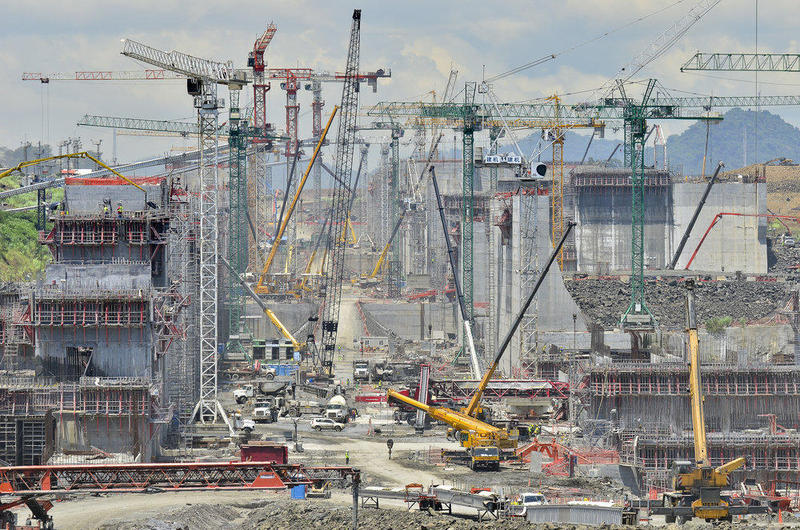 Wider Panama Canal locks under construction in 2014.