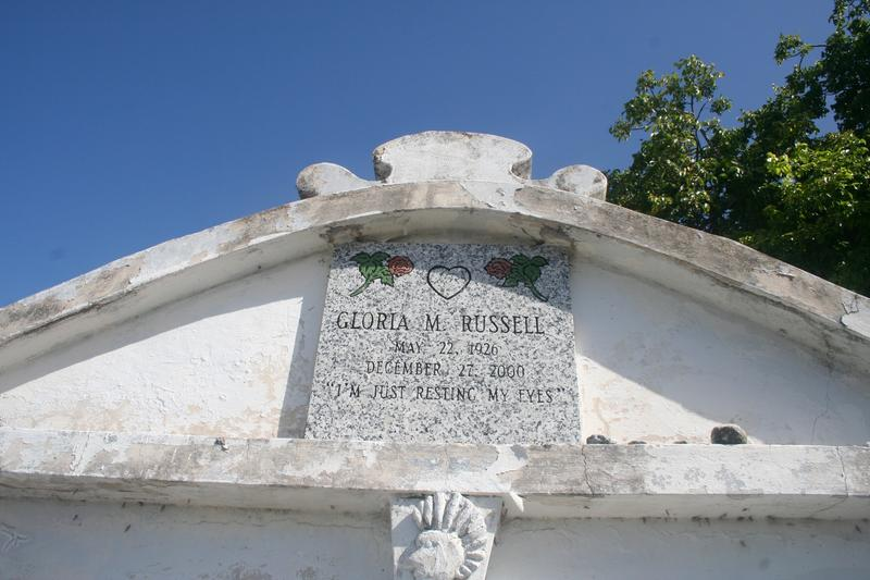 Another marker on the Russell-Roberts mausoleum features an unusual epitaph.