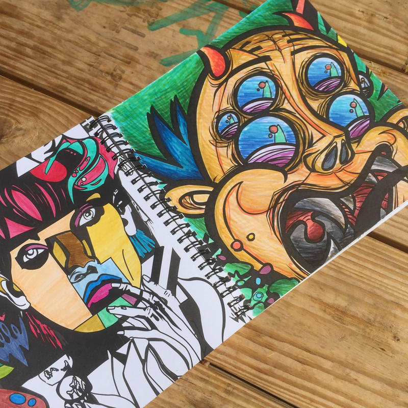 Completed pages from the Wynwood Coloring Book.