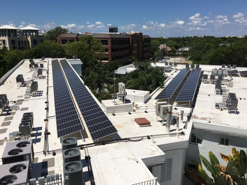 Solar installation on the roof of a Coconut Grove hotel.