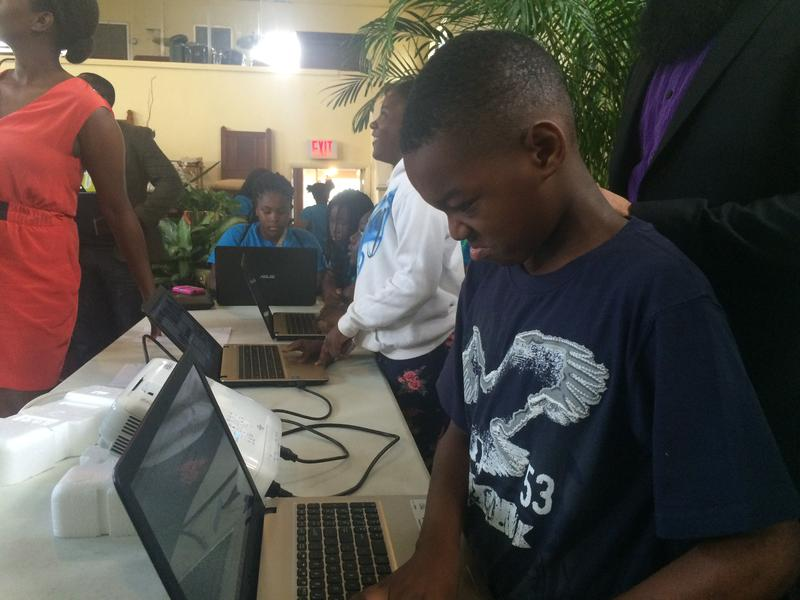 Makai Maycock prepares for a 'pitch session' at the end of a summer camp unit on coding and web design