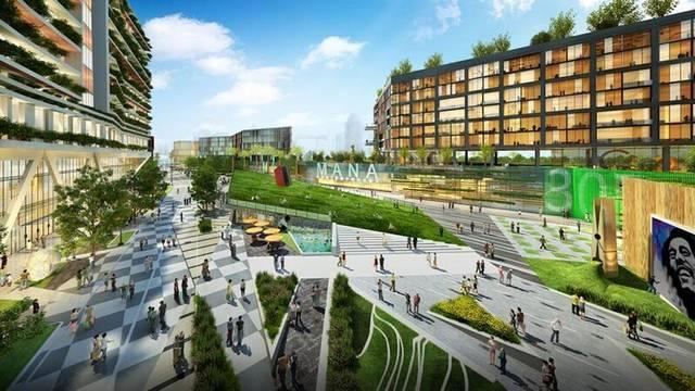 A rendering of conceptual plans for the Mana Commons in the east zone of the Mana Wynwood mega-project.