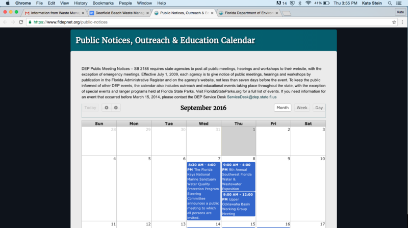 On the DEP's website, there was no mention of a public meeting that took place on Sept. 1. A statement above the calendar says state law requires online notification of public meetings.