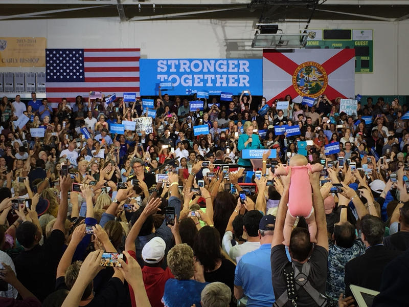 Hillary Clinton speaks to supporters of all ages during a rally at Palm Beach State College in Lake Worth on Oct. 26, 2016.