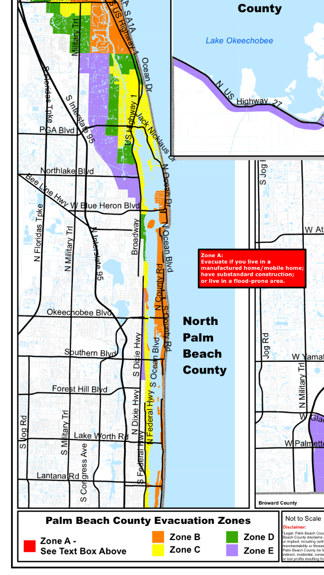 Evacuation orders are in effect for zones A and B of Palm Beach County.