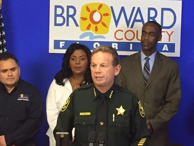 Broward County Sheriff Scott Isreal urges residents to take preparations  for Hurricane Matthew at a press conference Tuesday, Oct. 4, 2016.