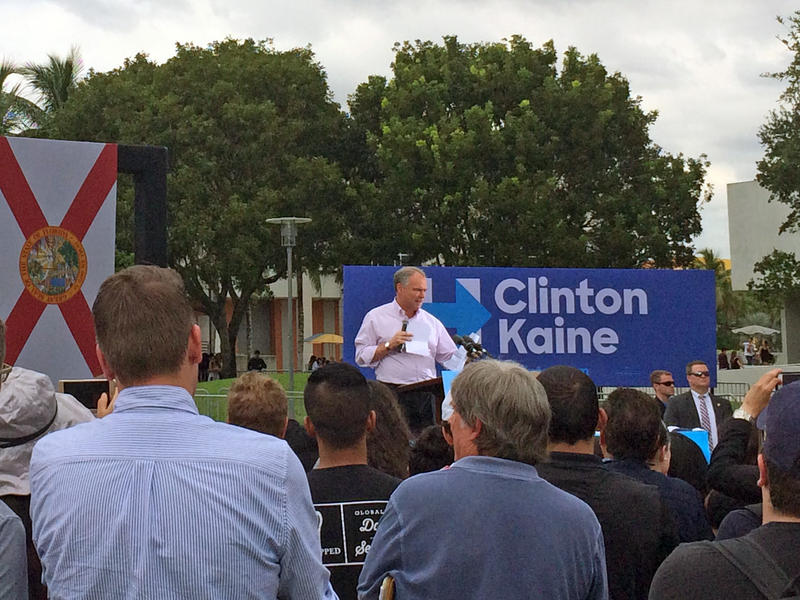Democratic Vice Presidential Nominee Tim Kaine addresses hundreds at Florida International University about the importance of early voting on October 24, 2016.