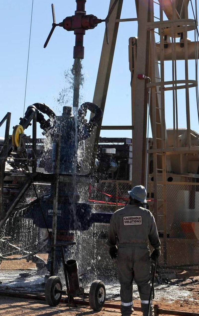 Water gushes out of a drilling pipe as it is pulled up to be replaced with a fresh pipe at a hydraulic fracturing site in Midland, Texas, Sept. 24, 2013.  Read more here: http://www.miamiherald.com/news/politics-government/state-politics/article62475717.h