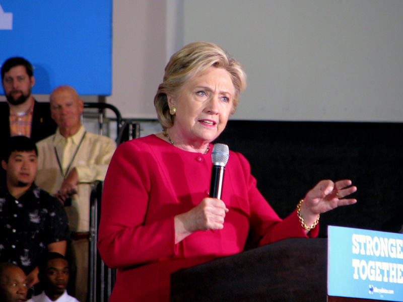 Democratic presidential candidate Hillary Clinton addresses South Floridians at voter rally at Broward College in Coconut Creek on October 25, 2016.