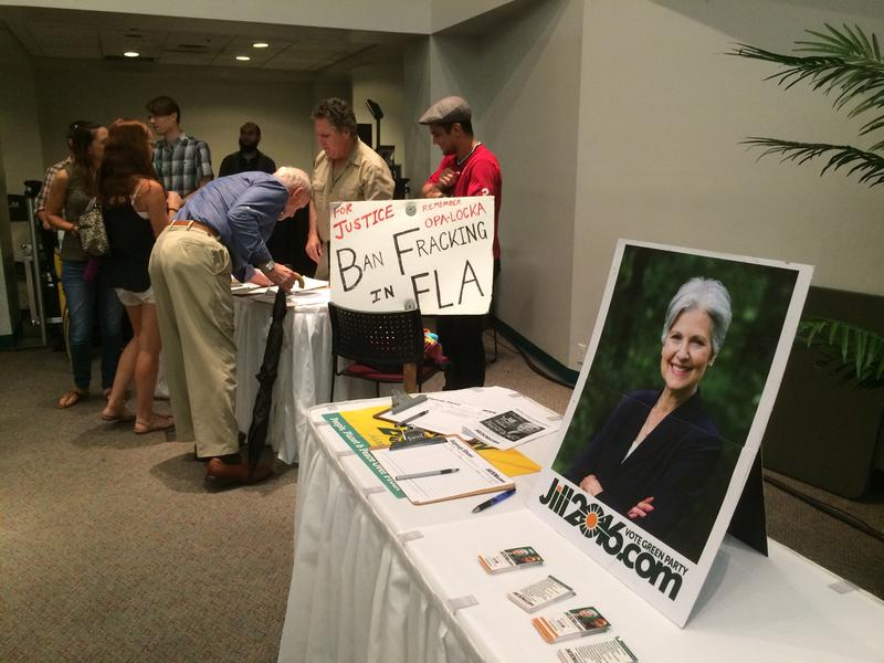 """Campaigning in Miami on Friday, presidential candidate Jill Stein said she'd create a """"wartime mobilization"""" in the U.S. to fight climate change and create jobs."""