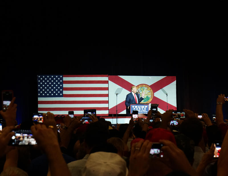 Donald Trump speaks at a rally in West Palm Beach on October 13, 2016.