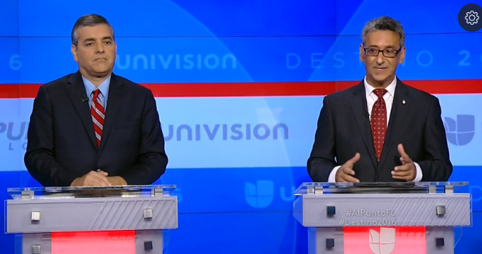 Puerto Rican Democrat Robert Asencio (right) debates Cuban Republican David Rivera on Univision last month.