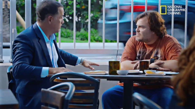 Jack Black, right, interviews Mayor Philip Levine about Miami Beach's climate change resiliency strategies.