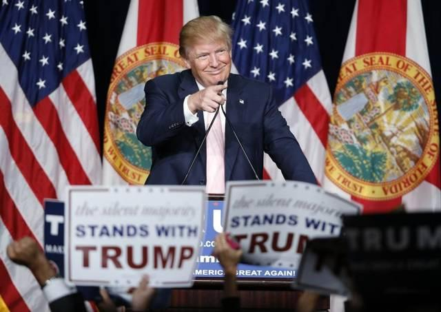 Republican presidential candidate Donald Trump delivers a speech Friday night, Oct. 23, 2015, during his first presidential campaign rally in Florida at the Trump National Doral Miami resort.